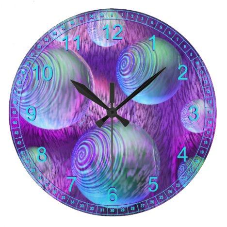 Inner Flow II - Abstract Indigo & Lavender Galaxy Large Clock
