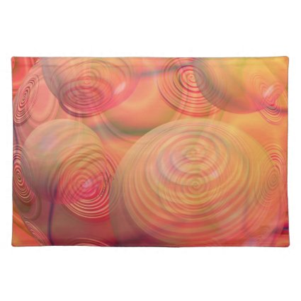 Inner Flow IV Fractal Abstract Orange Amber Galaxy Place Mat