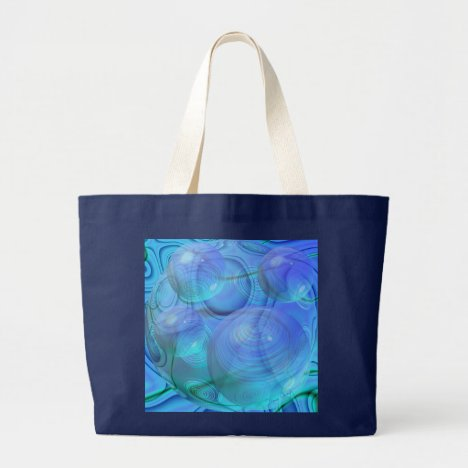 Inner Flow VI – Aqua & Azure Galaxy Large Tote Bag