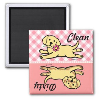 Innocent Yellow Labrador Puppy Cartoon Refrigerator Magnet