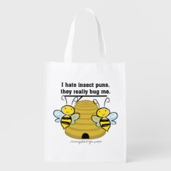 Insect Puns Bug Me Funny Bumble Bees Reusable Grocery Bags