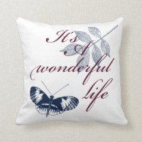 Inspirational Words Wonderful Life Throw Pillow