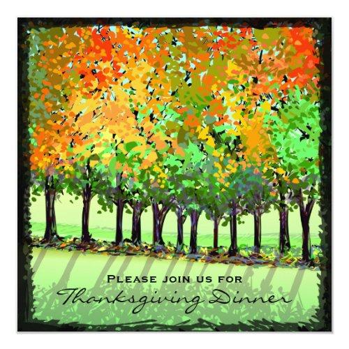 Invitation - Thanksgiving Dinner - Fall Trees