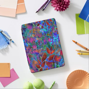 """iPad 12.9"""" iPad Pro Cover Floral Stained Glass"""
