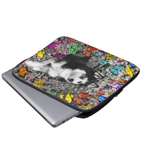 Irie the Siberian Husky in Butterflies Computer Sleeve