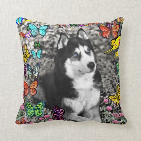 Irie the Siberian Husky in Butterflies Throw Pillow