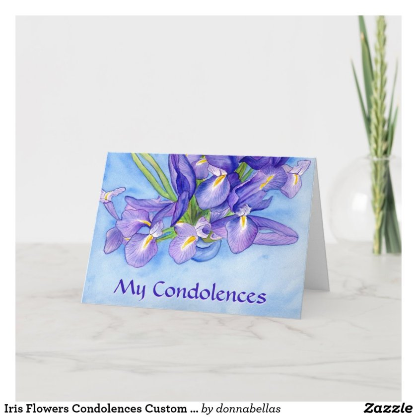 Iris Flowers Condolences Custom Greeting Cards