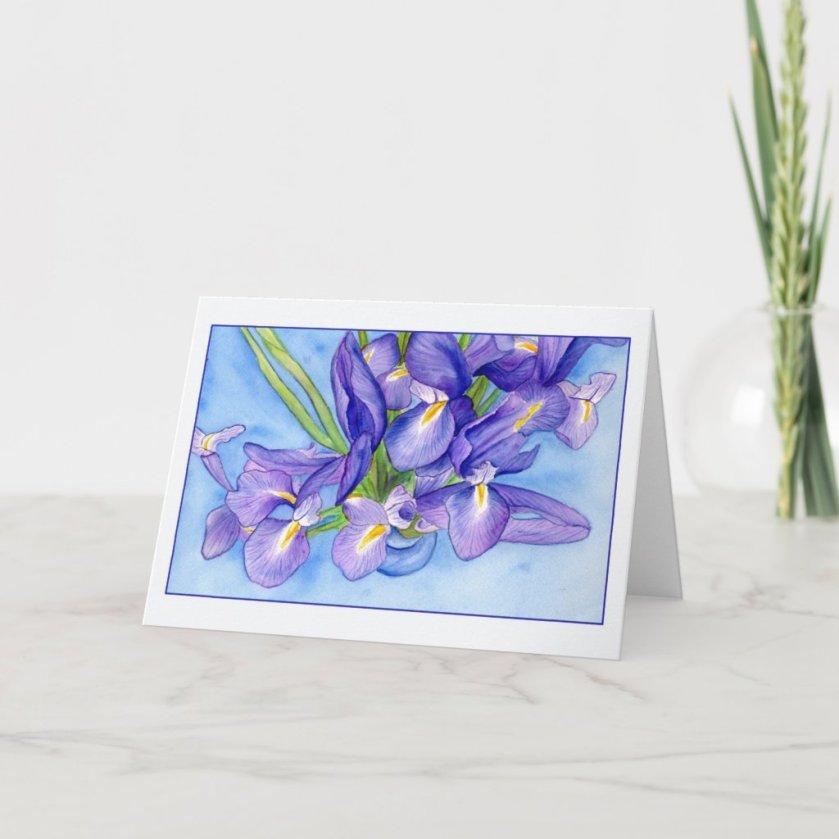 Iris Vase Greeting Card