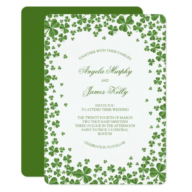 Irish Green Shamrock Wedding Invitation