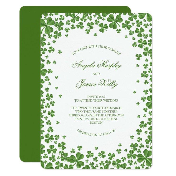 Irish Green Shamrock Wedding Invitation