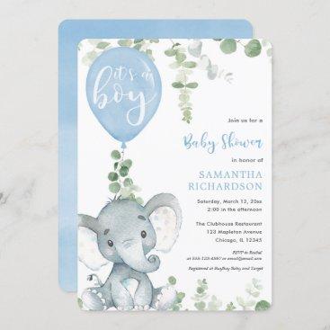 It's a boy blue balloon cute elephant baby shower invitation