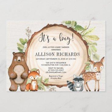 It's a boy rustic woodland animals baby shower invitation