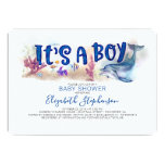 It's a Boy Underwater Ocean Dolphin Baby Shower Invitation