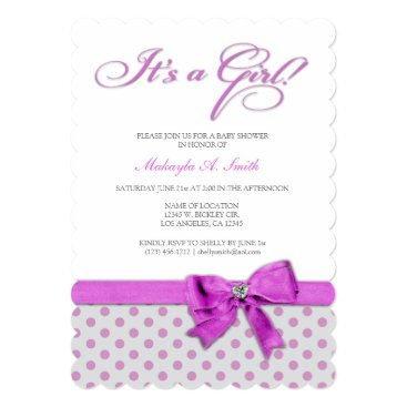 It's a Girl! Elegant Pink and Gray Polka-Dots Card