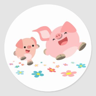It's Spring!!-Two Cute Cartoon Pigs Sticker sticker