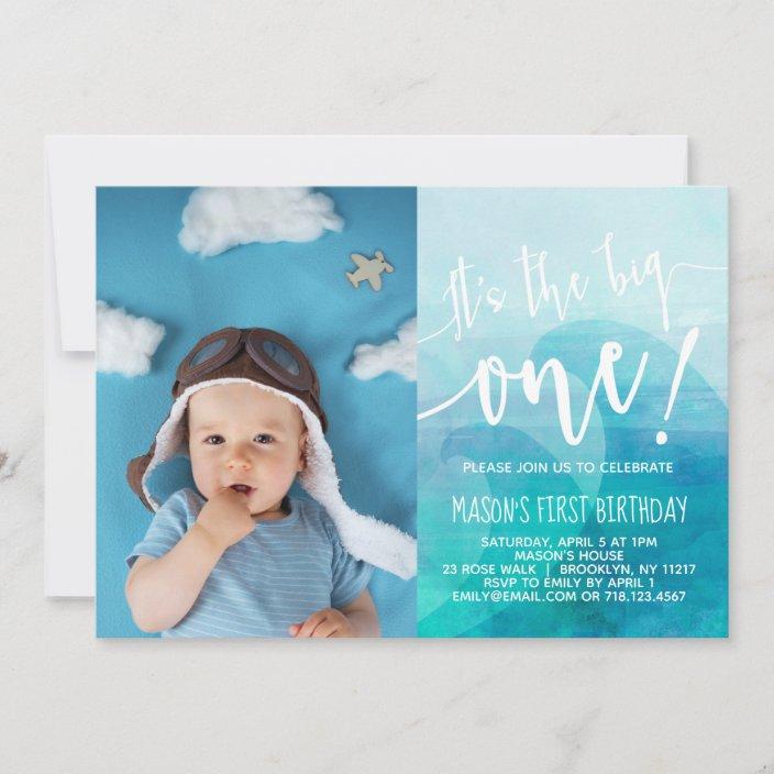 it s the big one wave first birthday invitation zazzle com