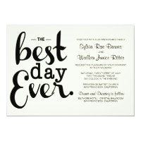 Ivory - Best Day Ever - Wedding Invitation