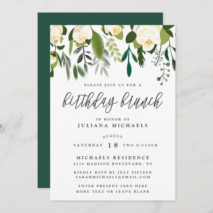 ivory green botanical birthday brunch invitation zazzle com