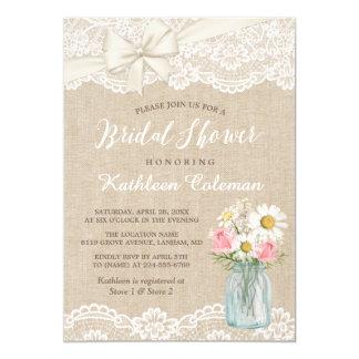 Ivory Lace Burlap Mason Jar Fl Bridal Shower Card