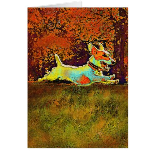 jack russell in autumn card