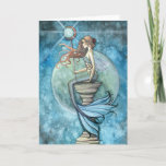 Jade Moon Mermaid Greeting Card by Molly Harrison