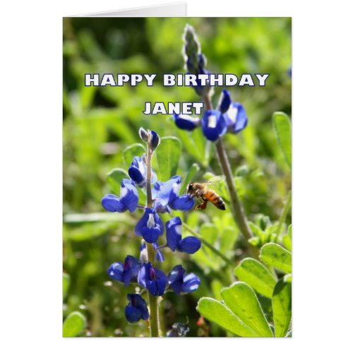 Janet Texas Bluebonnet Happy Birthday Card