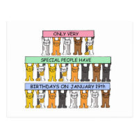 January 19th Birthdays celebrated by cats. Postcard
