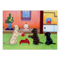 Japanese New Year's Day Labradors 2 Card