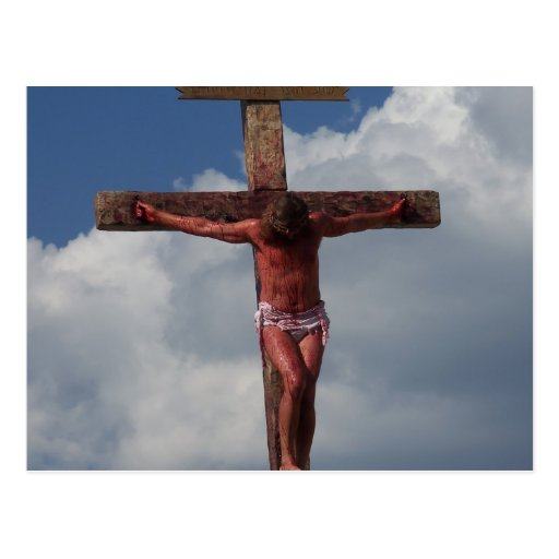 Jesus Christ crucified on the cross postcard photo