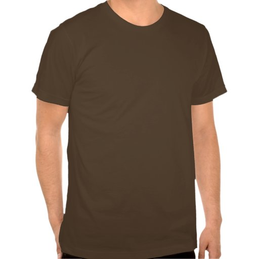 Brown t-shirt  with white text that reads