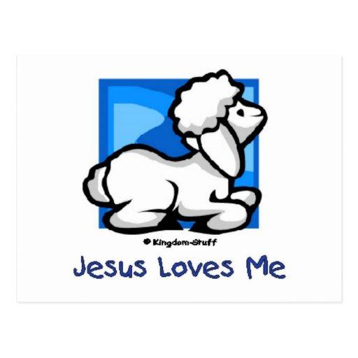 Jesus Loves Me Lamb Postcard