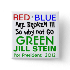 Jill Stein for President 2012 Green Party Pinback Buttons