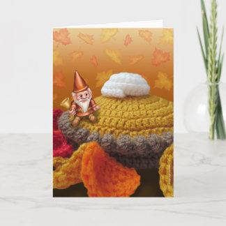 Gnome on a Pumpkin Pie Greeting Card