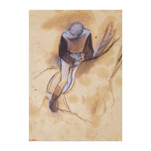 Jockey flexed forward standing in the saddle wrappedcanvas