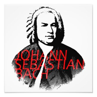 Johann Sebastian Bach portrait and red letters Photo Print