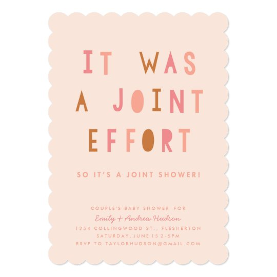 Joint Effort S Baby Shower Invitation Blush