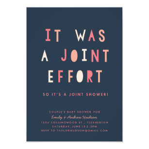 Joint Effort S Baby Shower Invitation Navy