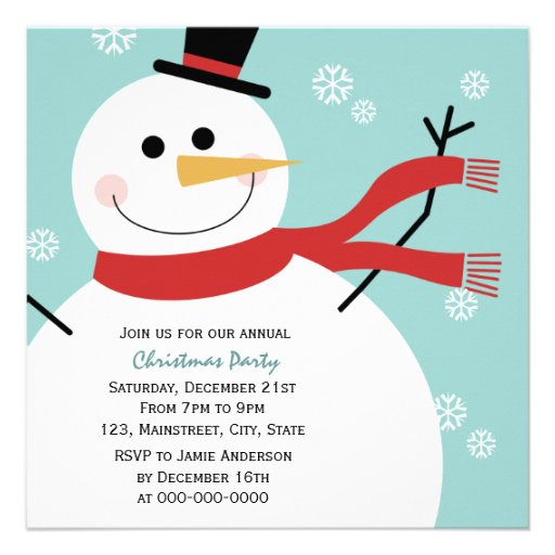Jolly Snowman Christmas Party 525x525 Square Paper