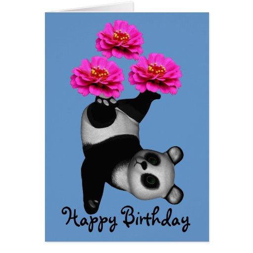 Juggling Panda Bear Zinnia Flower Birthday Card Zazzle