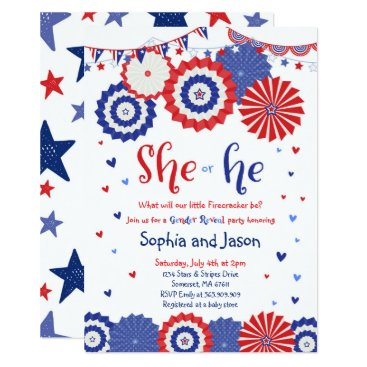 July 4th Gender Reveal Party Invitation