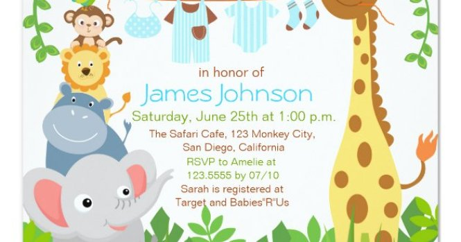 Jungle Animals Safari Boy Baby Shower