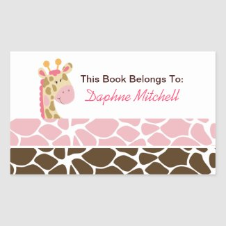 Jungle Giraffe Pink Book Plate Sticker