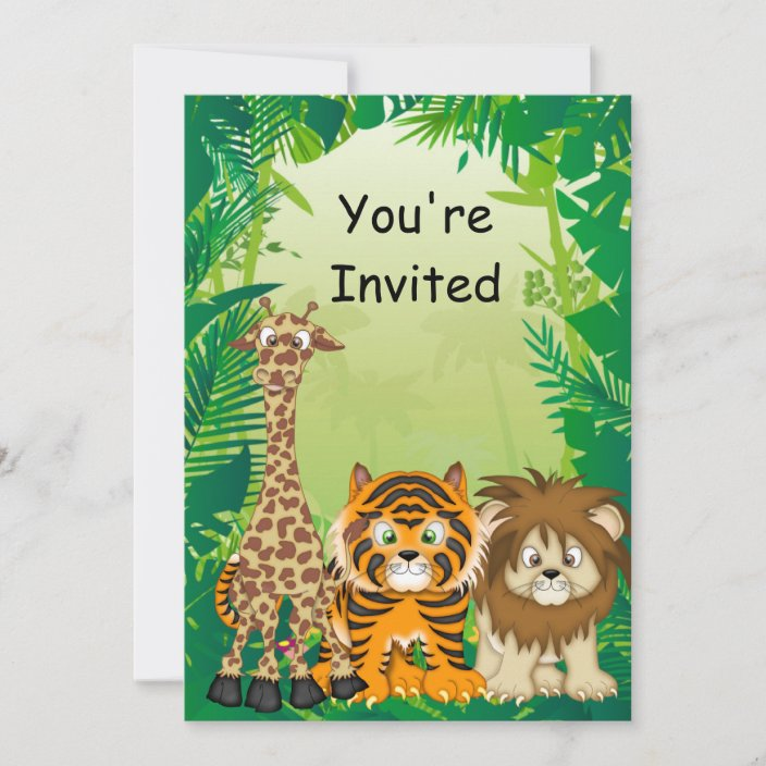 jungle theme birthday invitations zazzle com