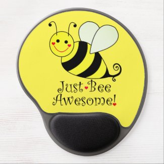 Just Bee Awesome Cute Yellow Bumble Bee Gel Mouse Pad
