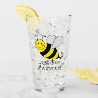 Just Bee Awesome Cute Yellow Bumble Bee Glass