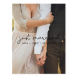Just married Cute script wedding photo Postcard