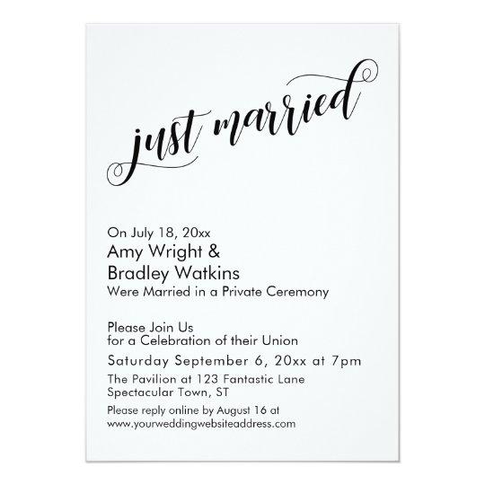 Just Married Fancy Script Post Wedding Celebration Invitation