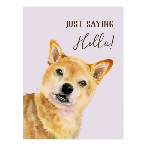 Just Saying Hello! | Shiba Inu Dog Watercolor Card
