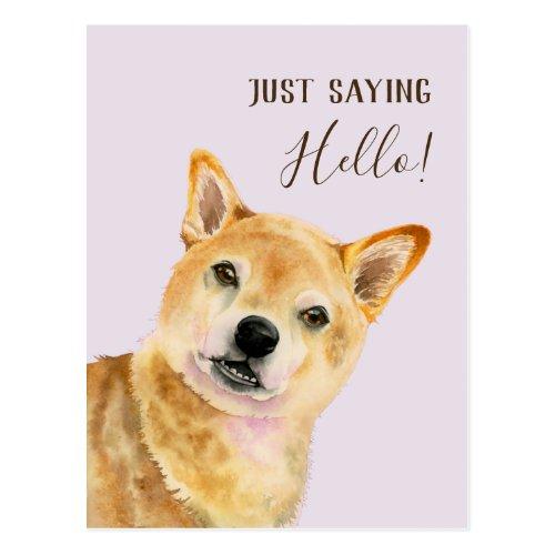Just Saying Hello! | Shiba Inu Dog Watercolor Card