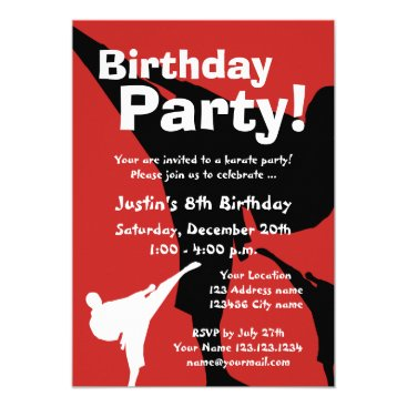 Karate Birthday party invitations for kids
